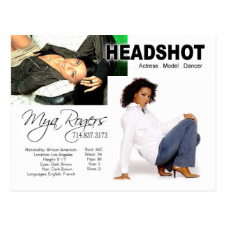 Headshot for Model Actor Post Cards