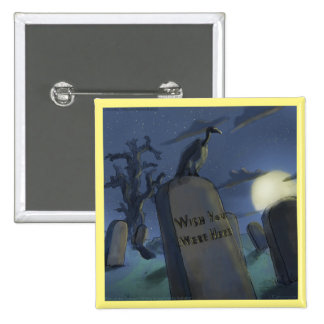 Headstone Invitational Funny Halloween Button
