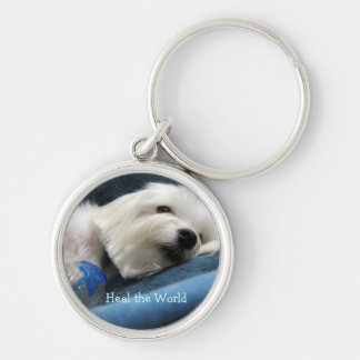 Heal the World Silver-Colored Round Key Ring