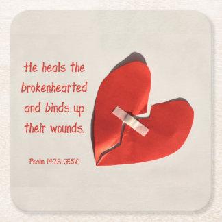 Healer of Broken Hearts Psalm 147:3 Scripture Art Square Paper Coaster