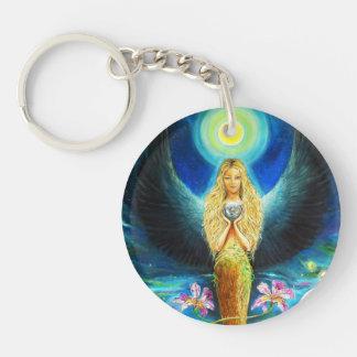 Healing Angel Single-Sided Round Acrylic Key Ring