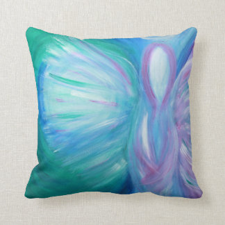Healing Blue Angel Whimsical Art Pillow