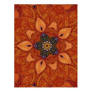 healing flame flower mandala postcard