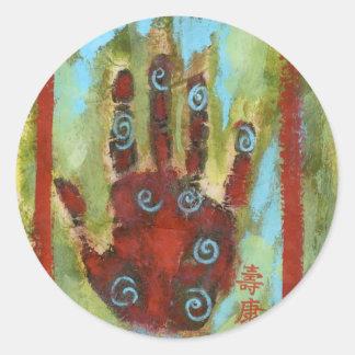 healing hand 8 round sticker
