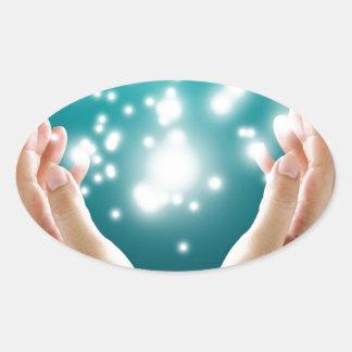 Healing hands 1 oval sticker