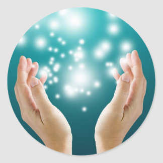 Healing hands 1 round sticker