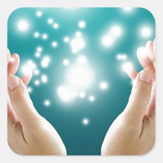 Healing hands 1 square sticker