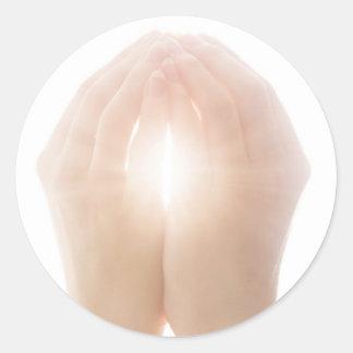 healing hands 2 round sticker