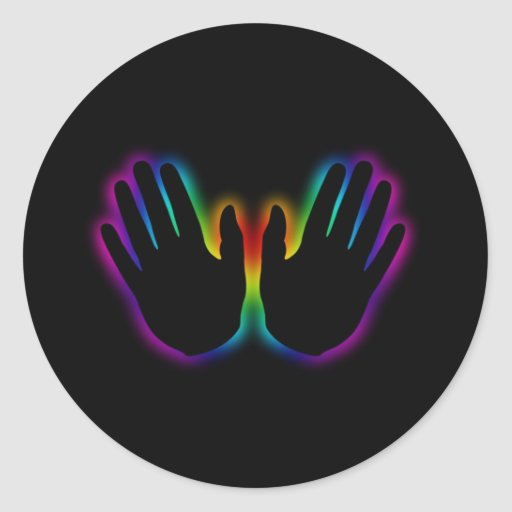 healing hands 5 round stickers