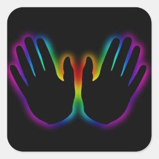 healing hands 5 square sticker
