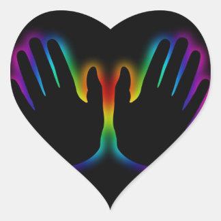 healing hands 5 heart sticker