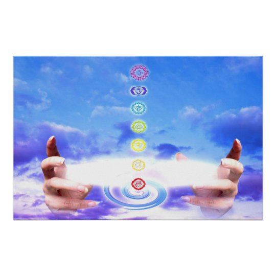 Healing hands, energy, chakra symbols, blue poster
