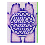 Healing Hands Holding Flower of Life. Post Cards