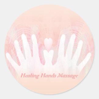 Healing Hands Massage Round Sticker