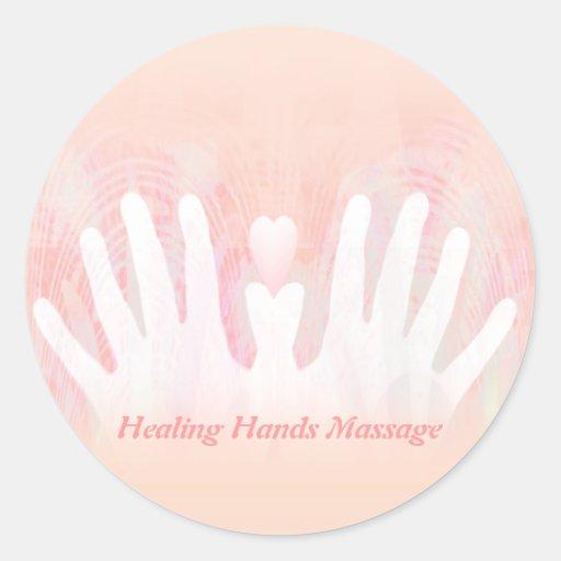 Healing Hands Massage Round Stickers