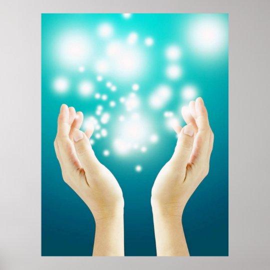 Healing hands on green background chakra healer poster