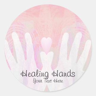 Healing Hands Pink Round Sticker