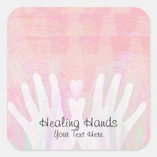 Healing Hands Pink Square Sticker