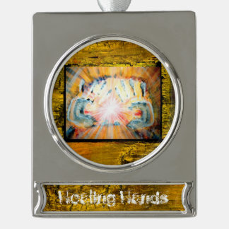 Healing Hands Silver Plated Banner Ornament