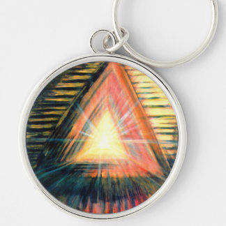 Healing Light Silver-Colored Round Key Ring