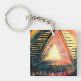 Healing Light & Pyramids Double-Sided Square Acrylic Key Ring