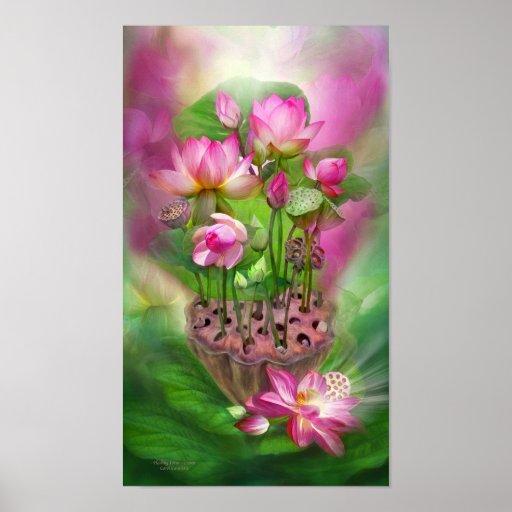 Healing Lotus - Crown Chakra Art Poster/Print Poster
