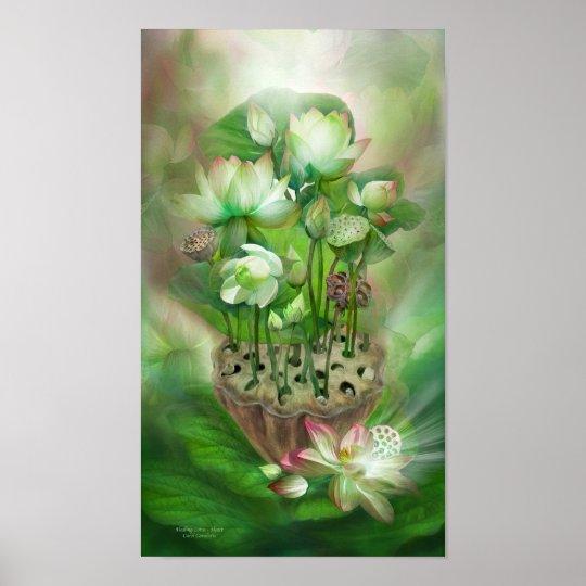 Healing Lotus - Heart Chakra Art Poster/Print Poster