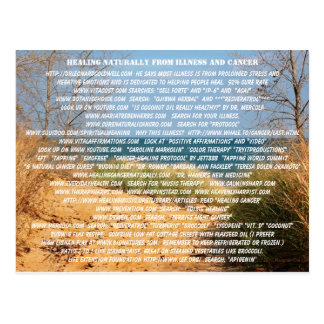 HEALING NATURALLY FROM ILLNESS AND CANCER POSTCARD
