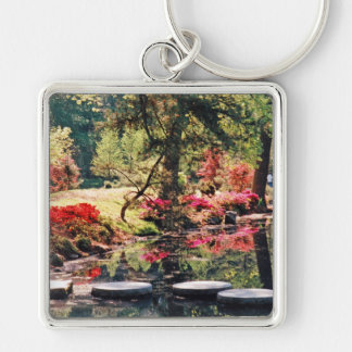 Healing Path Silver-Colored Square Key Ring
