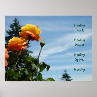 Healing touch Healing word Healing spirit Nursing Poster