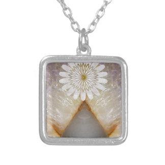 HealingSTONE Crystal Marble Vintage Temple Art Square Pendant Necklace