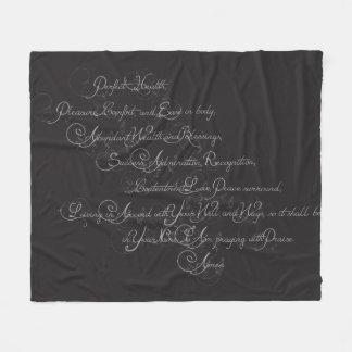 Health and Blessings Fleece Blanket - Grey/Black
