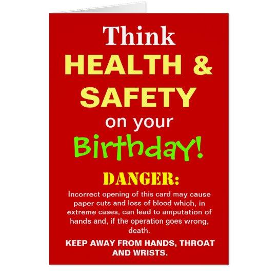 Health and Safety Funny Birthday Joke Card