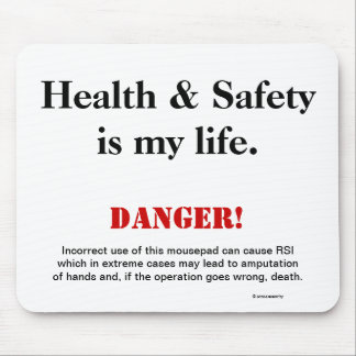 Health and Safety Joke Spoof Warning Sign Mouse Mat
