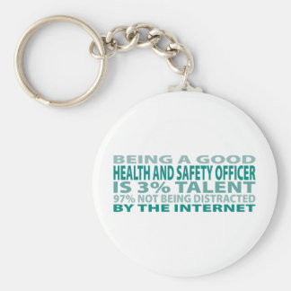 Health and Safety Officer 3% Talent Basic Round Button Key Ring