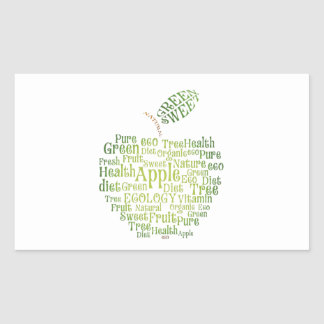 Health Green Eco Friendly Rectangular Sticker