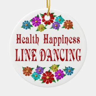 Health Happiness Line Dancing Round Ceramic Decoration