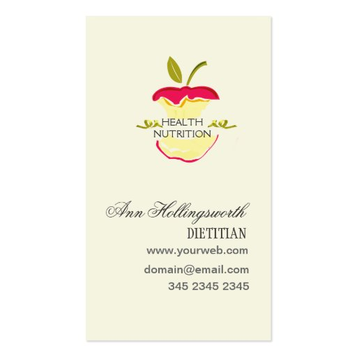 create your own nutritionist business cards