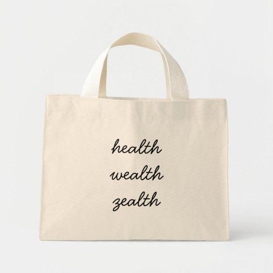 health wealth zealth mini tote bag