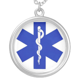 healthcare_symbol silver plated necklace