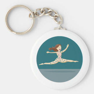 Healthy Digestion Girl Basic Round Button Key Ring