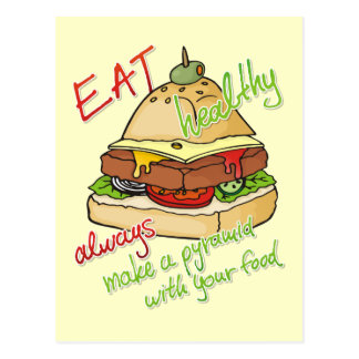Healthy eating burger pyramid postcard
