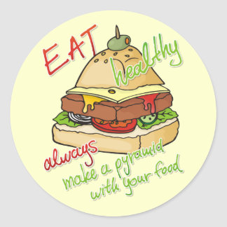 Healthy eating burger pyramid stickers