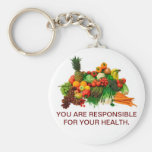 Healthy Eating Customised Keychain. Basic Round Button Key Ring