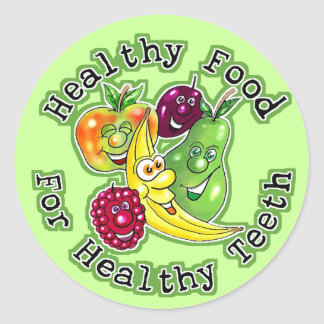 Healthy Food For Healthy Teeth Round Sticker