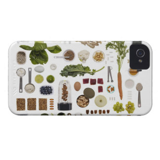 Healthy food grid on a white background. iPhone 4 cover