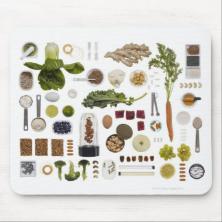 Healthy food grid on a white background. mouse mat