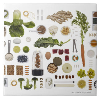 Healthy food grid on a white background. tile