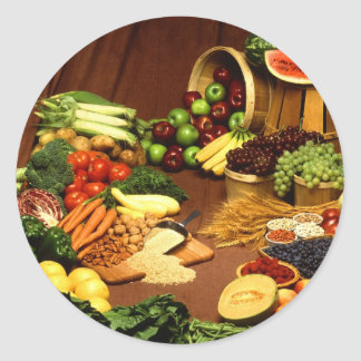 Healthy food round sticker