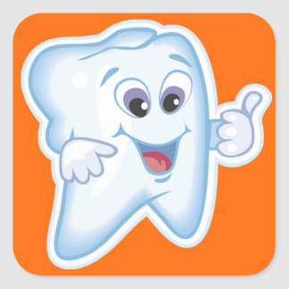 Healthy Happy Tooth Square Sticker